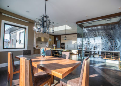 kitchen dining room and wine room