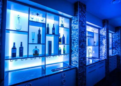 wet bar with modern lighting