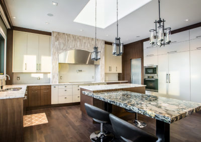 beautiful kitchen with island and bar seating