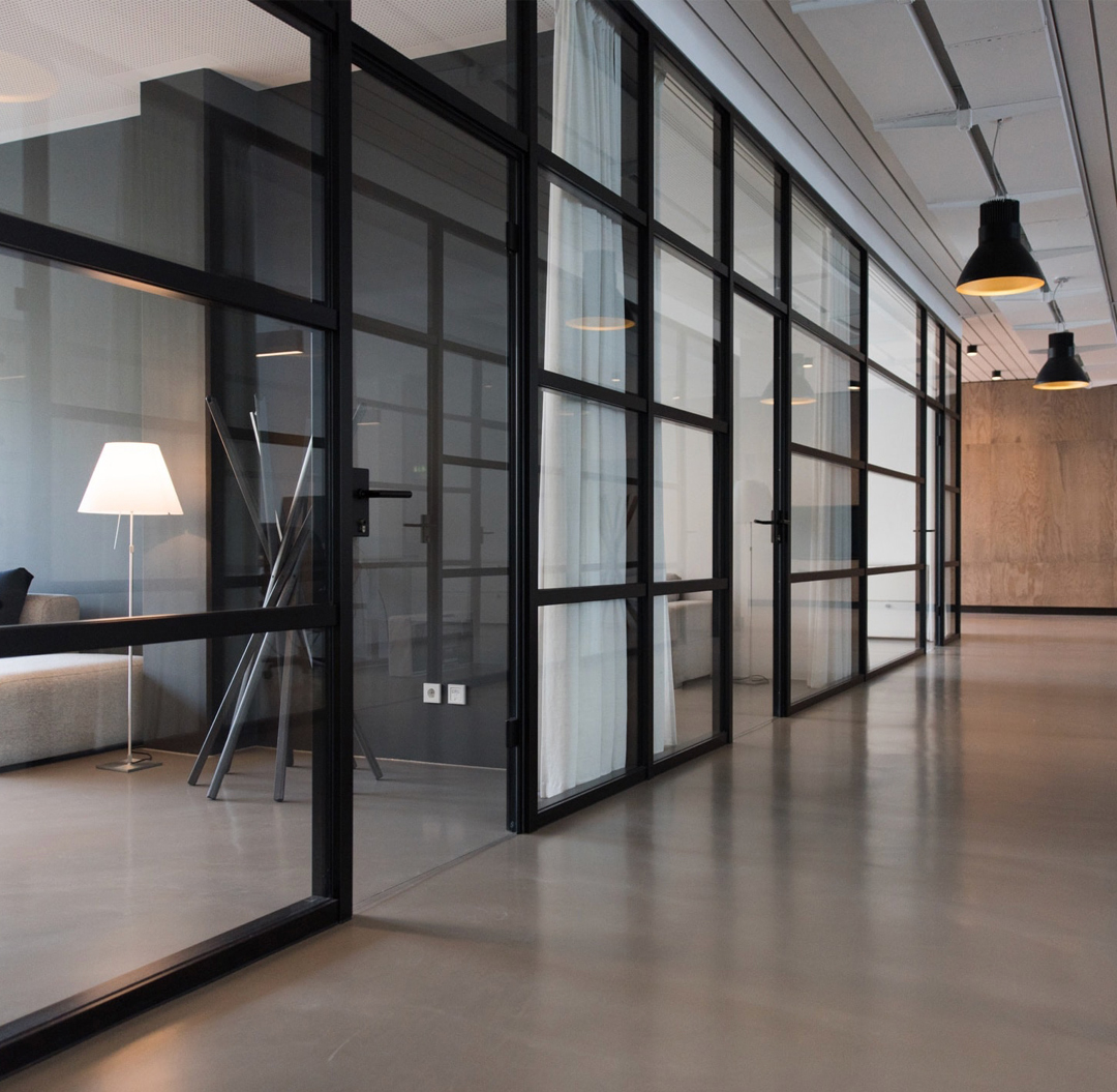 The modern interior of a office space designed by Decora Homes